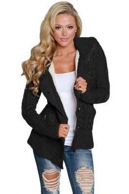 B736a 1 cardigan cu gluga model tricotat