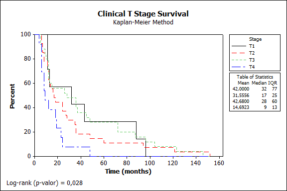 Figure 1  t stage and survival
