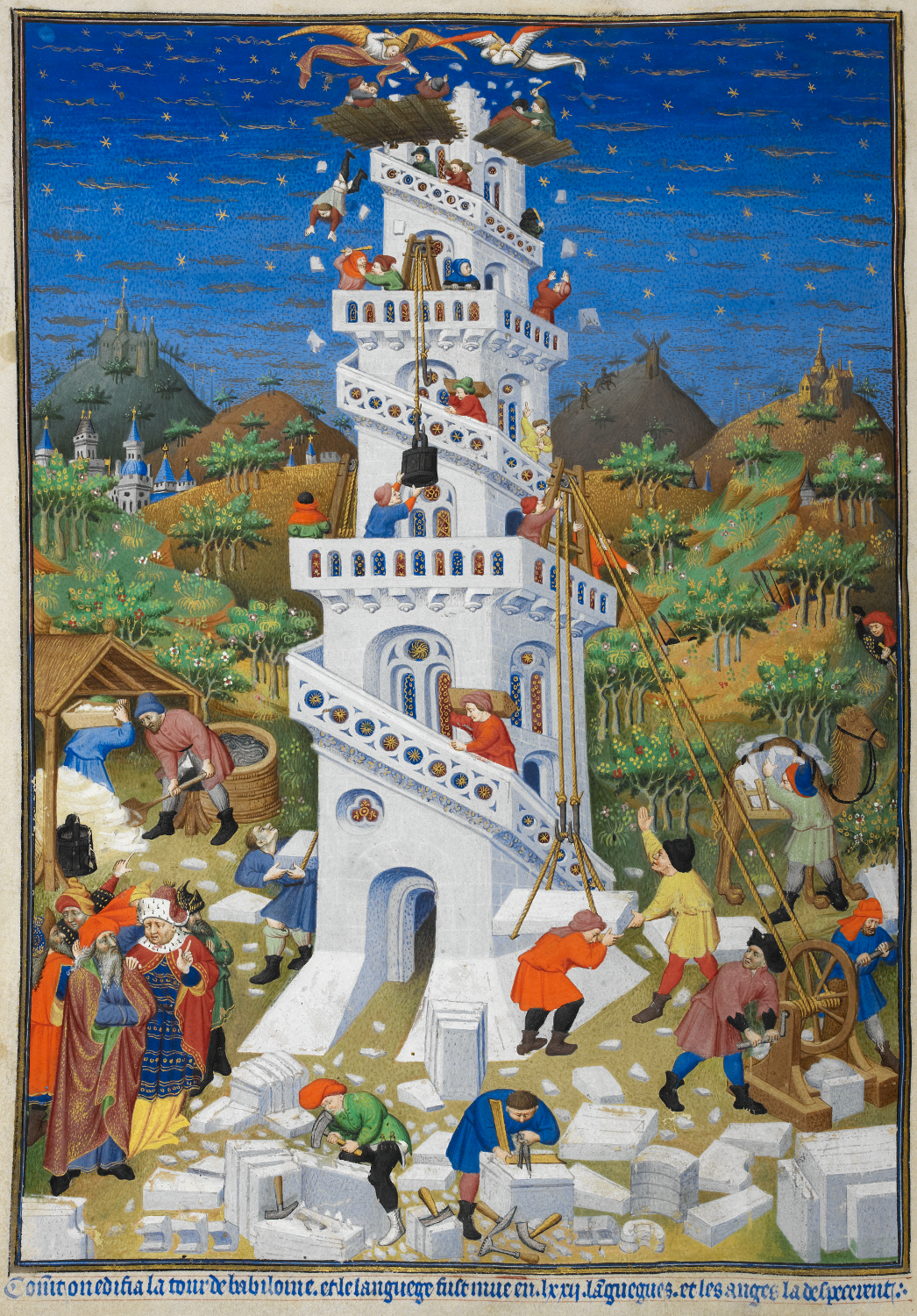 Building of the tower of babel   british library add ms 18850 f17v (detail)