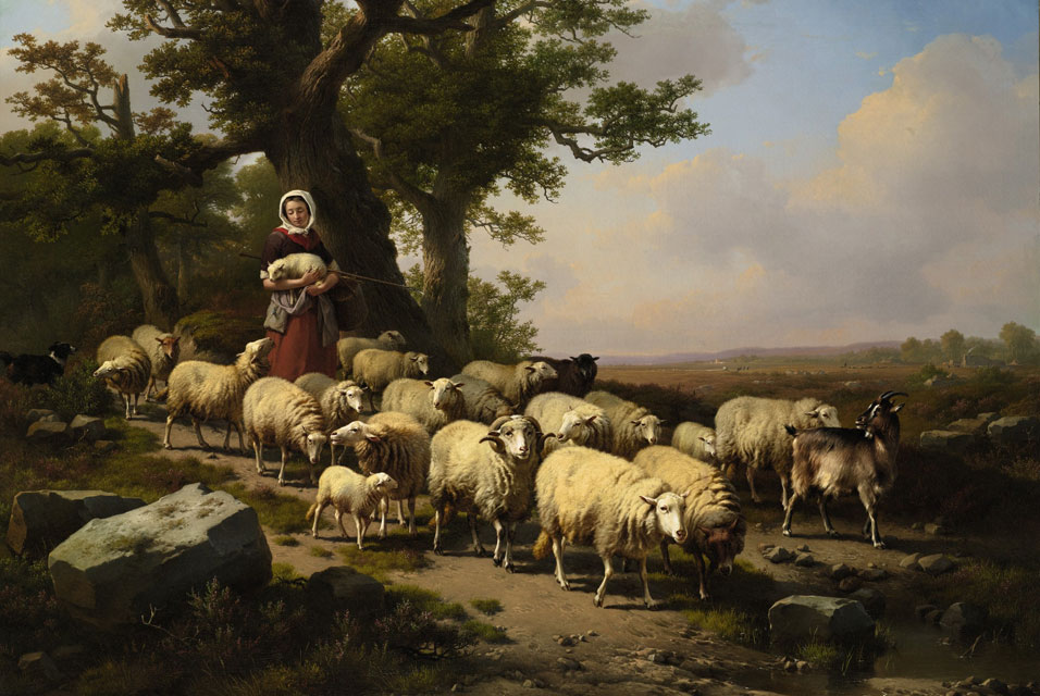 Eugene verboeckhoven, a shepherdess with her flock